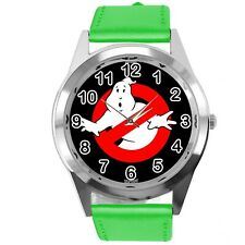 GHOSTBUSTERS FILM SCIFI MOVIE CD DVD GREEN REAL LEATHER STAINLESS STEEL WATCH