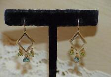 10K Pear Blue Topaz Peridot Dangle Earrings Yellow White Gold Runway Gorgeous