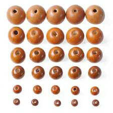 Lote De Madera Natural espaciador Granos bola de cuentas sin pintar Hágalo usted mismo Craft 6 8 10 12 14 18 20mm