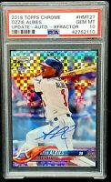 2018 Chrome XFRACTOR AUTO Braves OZZIE ALBIES RC Card /125 PSA 10 GEM MINT Pop14