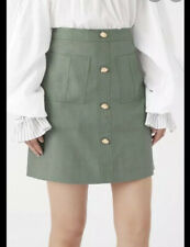Aje. Ladies Paperbark Linen Mini Skirt Sz 8 Gumnut Green Lined.