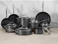 15-Piece Hard Anodized Aluminum Cookware Set Kitchen Storage Nonstick Interior