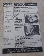 No Doubt Exodus Butthole Surfers Vintage 1989 Concert Poster Ad 4.5 x 6