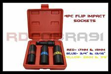"4 Pc 1/2"" Drive Impact Flip Sockets Metric & SAE 6 Sizes In 3 Sockets Tools"