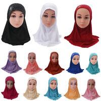 New Little Girls Islamic Kids Muslim Hijab Headwear Scarf Shawl Hat Caps