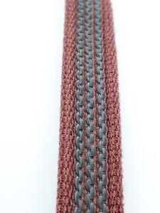 Cotton rein webbing rubberised 19 mm wide reins, straps, leads, burgundy & grey