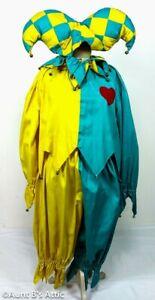 Jester Costume 4 Pc Yell/Turquoise Handmade Pant Top Collar & Belt Med/Lg