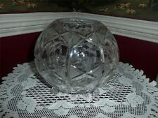 FOOTED BUD VASE BOWL CENTER PIECE VNTG. CUT GLASS /ETCHED UNKNOWN MAKER