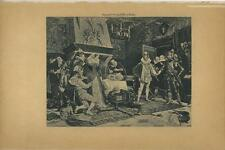 ANTIQUE MARY QUEEN OF SCOTS SCOTLAND ASSASSINATION RIZZIO KNIGHT MEDIEVAL PRINT