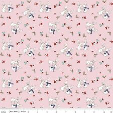Cotton Fabric  Fat Quarter Riley Blake - Pixie Noel - Bunnies Pink