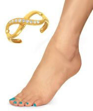 Infinity Adjustable Toe Ring 10K Solid Gold Cz