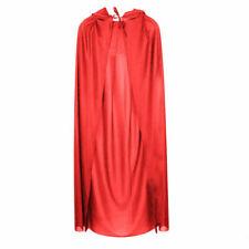 Unisex Satin Long Red Riding Hood Cape Cloak Adult Ladies Halloween Fancy Dress