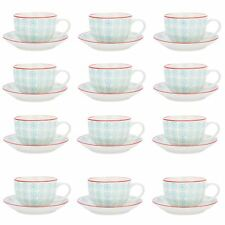 Cappuccino Cups and Saucers Set Coffee Tea Porcelain 250ml - Turquoise Red - x12
