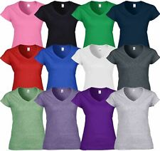 Gildan Womens Ladies Soft Style Plain V-Neck T-Shirt Cotton Tee Tshirt