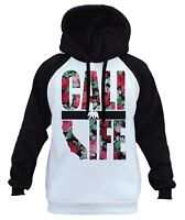 Men's Cali Life Roses White Raglan Hoodie California Republic Bear CA Pink B422