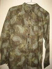 Caribbean Joe Green Paisley Cotton LS Shirt M EUC