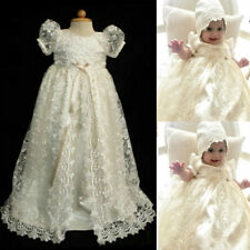 Bonnet Baby Girl Baptism Dresses Lace Christening Gowns White Ivory Size 0-24M