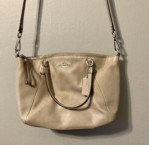 COACH Kelsey Satchel Crossbody Bag Gray Soft Pebbled Leather Zip Tote