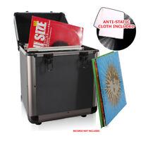 "LP 80 x 12"" Vinyl Record Box Storage DJ Case GREY GUN METAL + Anti-Static Cloth"
