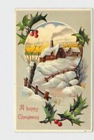 ANTIQUE POSTCARD HAPPY CHRISTMAS SNOW COVERED PASTORAL SCENE HOLLY
