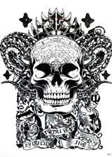 Large Arm Temporary Tattoos Body Art Stickers Skull Fake Tattoo