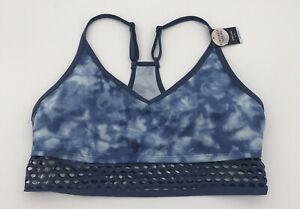 Victoria Secret PINK ULTIMATE Blue Tie Dye Sports Bra Size L NEW