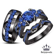 Wedding Band 925 Silver His & Her Blue Sapphire Trio Ring Set Black Gold Over