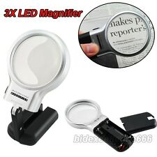 """3X Collapsib Illuminated Magnifier 3""""Lighted Magnifying Glass LED Folding Stand"""