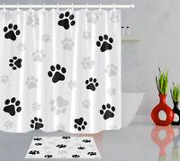 Bathroom Set Black & White Dog Paw Prints Shower Curtain Waterproof Fabric Hooks