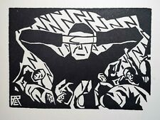 RARE! RUDOLPH BAUMGARDT Limited 1922 Woodcut: ' THE I '; FIGURE WITH DEAD SOULS?
