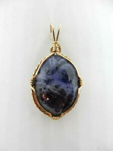 BEAUTIFULLY DETAILED, GOLD FILLED WIRE, BLUE LAPIS STONE PENDANT     #W741