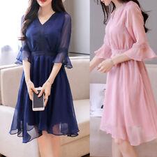 Women Ladies Casual Party Sheath Dress 3/4 Sleeve AU Size 10 12 14 16 18 #7989