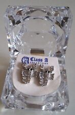 Men's Silver Finish Clear Lab Crystal Black Eye Scorpio Earring Stud  with box