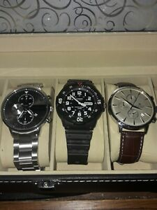 Display Box Collection Of 3 Watches Accurist Casio Burei