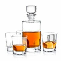 JoyJolt Carina 5 Piece Whiskey Decanter Set; 25.3 Oz Decanter with 4 Tumblers