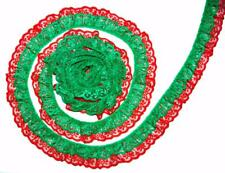 Bulk Lace~50 Yards Green/Red 2 Inch DOUBLE Ruffle Candlewick Lace Trim