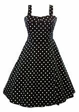 Vintage 50's Polka Dot Fold Over  Empire Women's Swing Dress Black