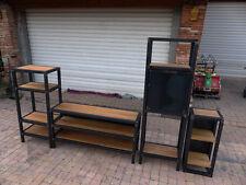 Living bibliothèque style industriel fabrication meuble industriel bois mètal