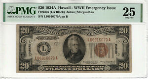1934 A $20 FEDERAL RESERVE NOTE WWII EMERGENCY ISSUE FR.2305 PMG VF 25 (070A)