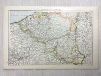 1899 Antik Map Of Belgien Luxemburg Charleroi Alte 19th Jahrhundert Original