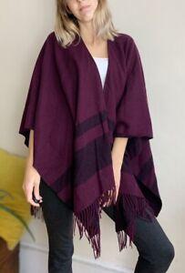 L.K.Bennett Cape Coat Luxury Cut Wool Cashmere 8 10 12 14 16 Burgundy Cherry