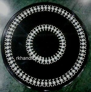 24 Inches Unique Pattern Black Sofa Table Top Round Marble Coffee Table for Home
