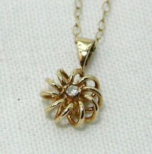 Pretty 9 carat Gold Small Diamond Set Pendant And Chain