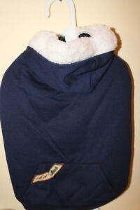 Fashion Pet Sherpa Warm Up Coat Navy with Fleece Lining Med.  new