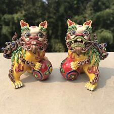 "Pair of Kutani Shishi Foo Dog / Guardian Lion Japanese Porcelain 4"" Exquisite"