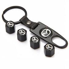 Black Wheel Tyre Tire Valve Dust Stems Air Caps + Keychain With Mazda Emblem