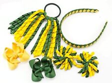 School Hair Bow Clips Alice band Korker Bobble PonyTail Holder Sets(Yellow&Green