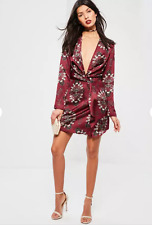 'TULULA'  Divine Silky Burgundy Print Low Front Wrap Detail DRESS size 14 BNWT