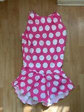 Figure Ice Skating Bright Pink Polka Dot Rhinestone Handmade Sleeveless Dress
