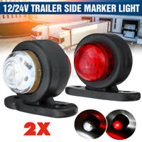 2x 12-24v Rubber Led Side Marker Outline Light Lamp Trailer Truck Camper Lorry